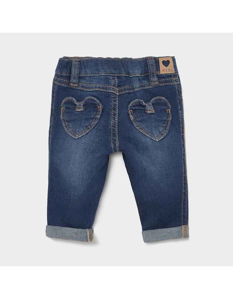 MAYORAL Jeansbroekje denim hartjes zak
