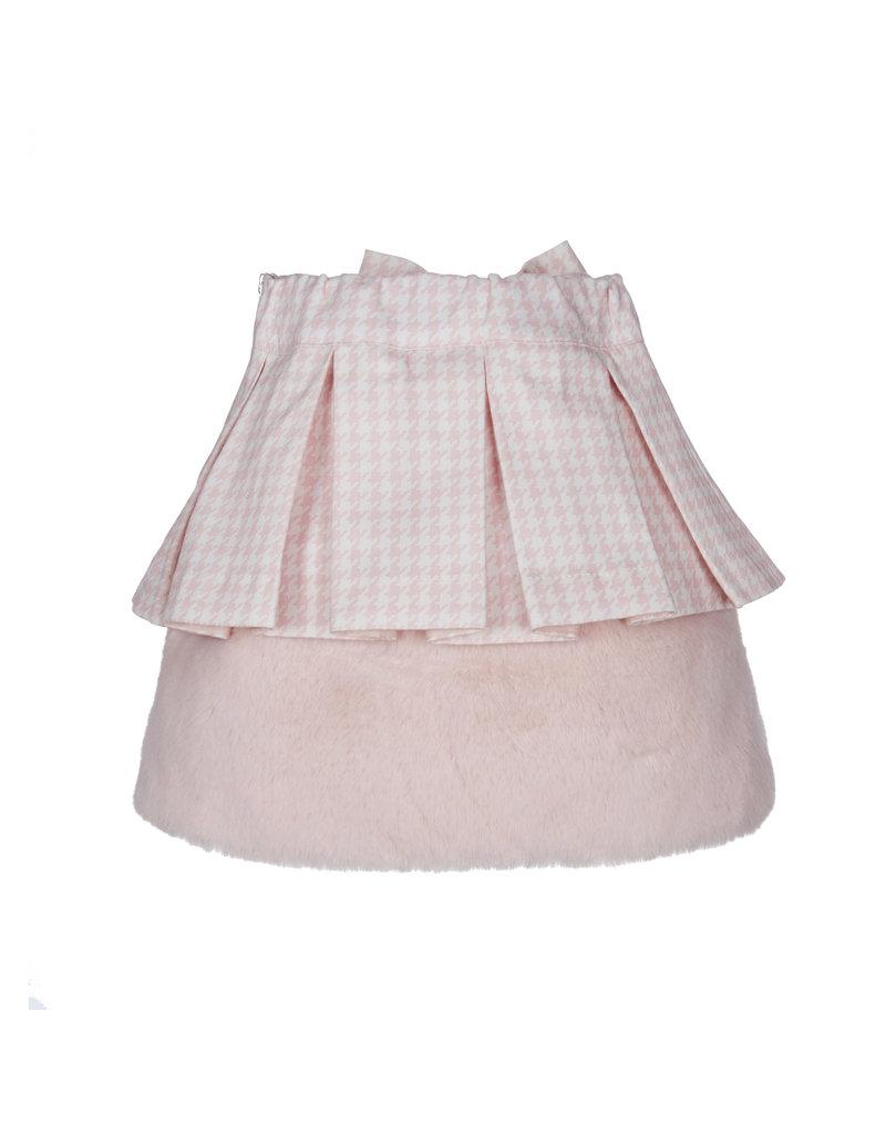 Lapin House Rokje pied de poule roze bont