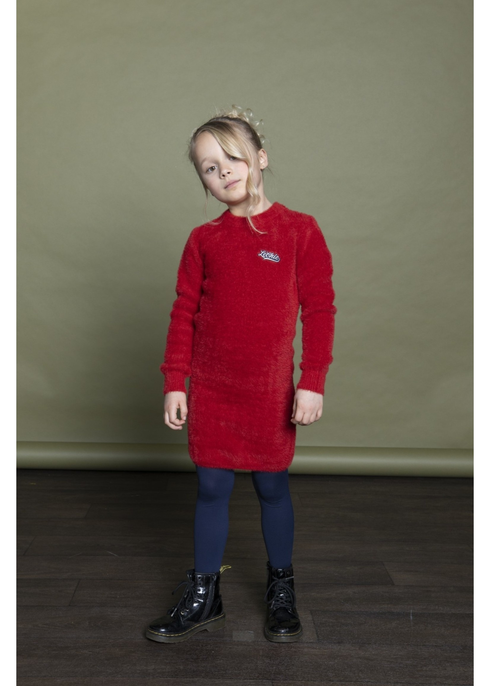 Le Chic LE CHIC Jurk fluffy knit rood