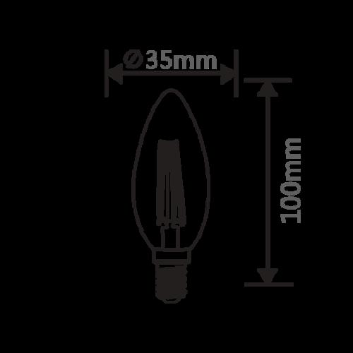 E14 | 4W Filament C35 | 2700K Warm Wit