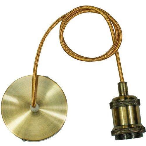 Hanglamp Oslo E27 Antiek Goud incl. Textielsnoer Goud en Plafondkap Brons