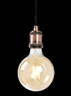 Hanglamp Oslo E27 Antiek Goud en Plafondkap Brons Inc.  Filament Lamp G125