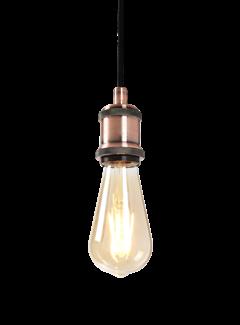 Hanglamp Oslo E27 Antiek Goud en Plafondkap Brons Inc.  Filament Lamp ST64