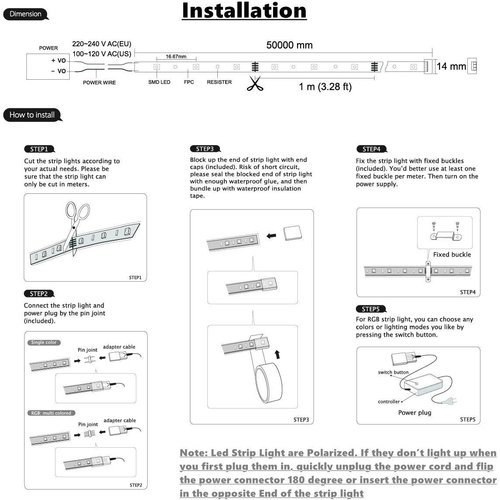 LED Strip RGB | 50 Meter | IP65 Waterdicht | 220V - 240V | SMD 5050 | Plug & Play