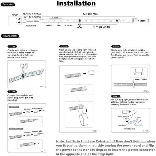 LED Strip RGB | 10 Meter | IP65 Waterdicht | 220V - 240V | SMD 5050 | Plug & Play
