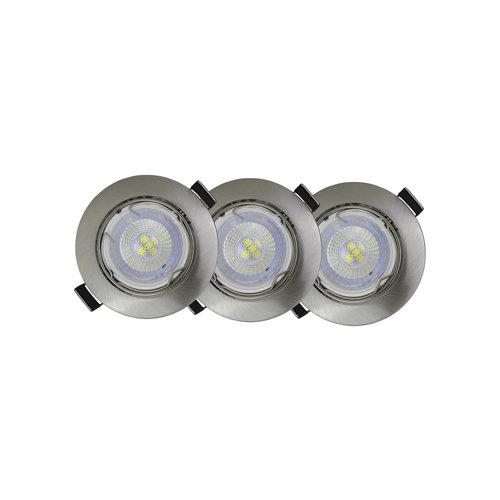 LED inbouwspots Nikkel Rond | Kantelbaar en Dimbaar | Set van 3 | Inclusief 5W GU10 Spot