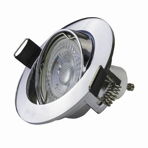 LED inbouwspots Chroom Rond | Kantelbaar en Dimbaar | Set van 5 | Inclusief 5W GU10 Spot