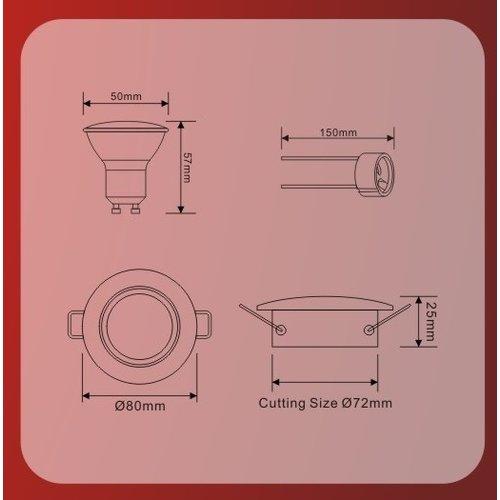LED inbouwspots Wit Rond | Kantelbaar en Dimbaar | Set van 5 | Inclusief 5W GU10 Spot