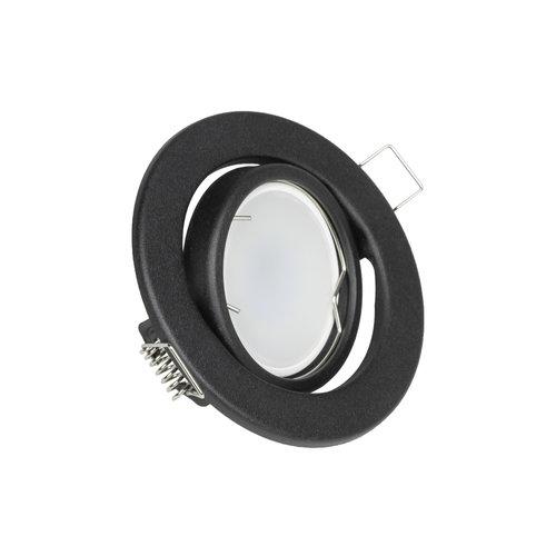 LED inbouwspots Mat Zwart Rond | Kantelbaar en Dimbaar | Kantelbaar en Dimbaar | Set van 3 | Inclusief 5W GU10 Spot