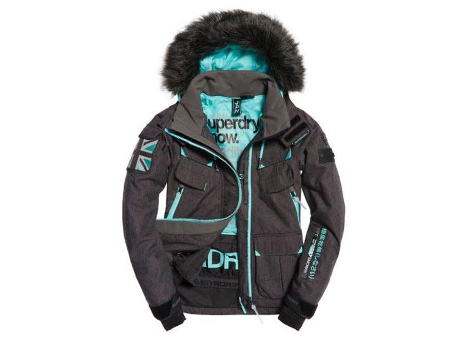 Ultimate Snow Service Jacket - Black Grit / Fluro Mint
