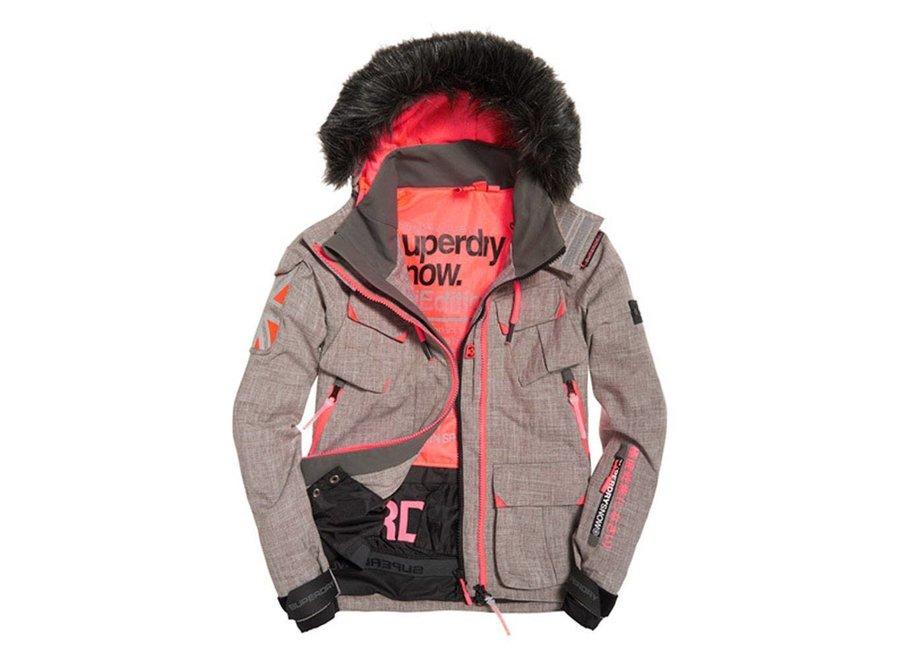 Ultimate Snow Service Jacket -  Light Grey Grit / Fluro Coral