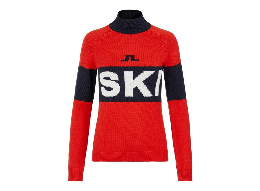 Alva Knitted Ski Sweater – Racing Red
