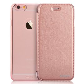 Xundd iPhone SE / 5 / 5S Folio Flip PU Leather hoesje met hard transparant back cover Rose Goud