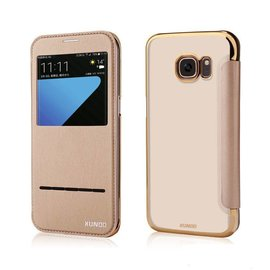 Xundd Samsung Galaxy S7 Edge flip folio Peik window view case cover hoesje Champagne Goud
