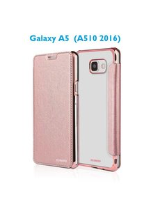 Xundd Samsung Galaxy A5 (A510 2016) Folio Flip PU Leather hoesje + Pasjes met transparant hard backcover Rose Goud