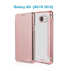 Xundd Galaxy A5 (A510 2016) Folio Flip PU Leather hoesje + Pasjes met transparant hard back cover Rose Goud