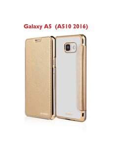 Xundd Samsung Galaxy A5 (A510 2016) Folio Flip PU Leather hoesje + Pasjes met transparant hard backcover Champagne Goud