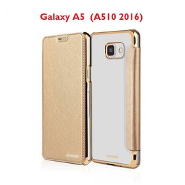 Xundd Galaxy A5 (A510 2016) Folio Flip PU Leather hoesje + Pasjes met transparant hard back cover Champagne Goud