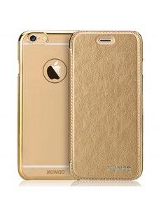 Xundd XUNDD iPhone 5 / 5S / SE Flip Case met transparent backcover Goud