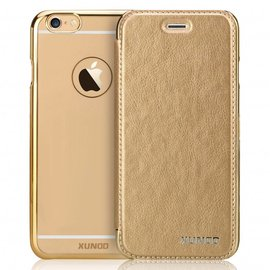 Xundd XUNDD iPhone 5 / 5S / SE Flip Case met transparent Back Cover Goud