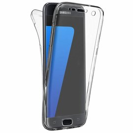 Merkloos Samsung Galaxy S7 Edge Hoesje - Dual TPU Case 360 Graden Cover - 2 in 1 Case ( Voor en Achter) Transparant