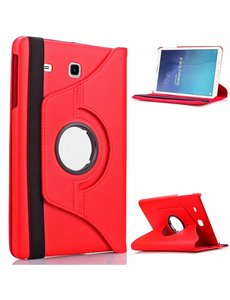 Merkloos Samsung Galaxy Tab E 9.6 inch SM - T560 / T561 Tablet Case met 360° draaistand cover hoesje - Rood