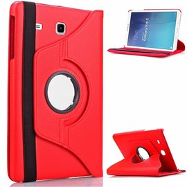 Merkloos Samsung Galaxy Tab E 9.6 inch SM - T560 / T561 Tablet Case met 360° draaistand cover hoes kleur Rood