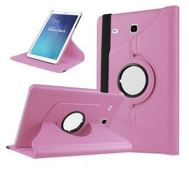 Merkloos Samsung Galaxy Tab A 9,7 inch SM-T550 Tablet Case met 360 draaistand cover hoes kleur Licht Roze