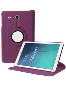 Merkloos Samsung Galaxy Tab E 9.6 inch SM - T560 / T561 Tablet Case met 360° draaistand cover hoesje - Paars