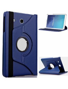 Merkloos Samsung Galaxy Tab E 9.6 inch SM T560 / T561 Tablet Case / cover met 360° draaistand cover hoesje - Donker Blauw