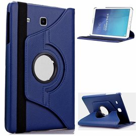 Merkloos Samsung Galaxy Tab E 9.6 inch SM T560 / T561 Tablet Case / cover met 360° draaistand cover hoes kleur Donker Blauw