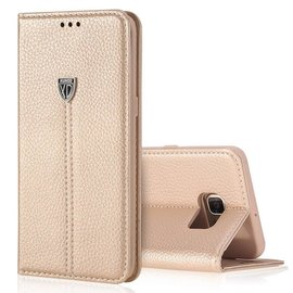 Xundd Noble Slim Fit PU leather wallet Case Hoesje met stand voor Samsung Galaxy S7 Champagne Goud