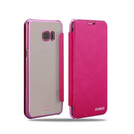Xundd Samsung Galaxy S6 Edge transparant TPU back case met flip hoesje Pink