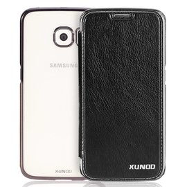 Xundd Samsung Galaxy S6 TPU Hard transparant back case met flip hoesje Zwart