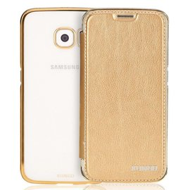 Xundd Samsung Galaxy S6 TPU Hard transparant back case met flip hoesje Champagne Goud