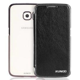 Xundd Xundd Samsung Galaxy S6 Edge Plus hard transparant TPU back case met flip hoesje Zwart