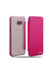 Xundd Xundd Samsung Galaxy S6 Edge Plus hard transparant TPU back case met flip hoesje Pink