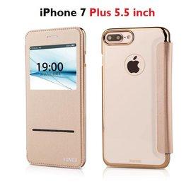 Xundd iPhone 7 Plus (5.5 inch) window view Peik Folio flip hoesje Champagne Goud
