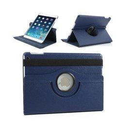 Merkloos iPad (2017) 360 Graden Draaibare hoesje Lederen Donker Blauw