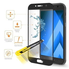 Merkloos Galaxy A5 2017 full coverage screen protector / tempered glass Zwart