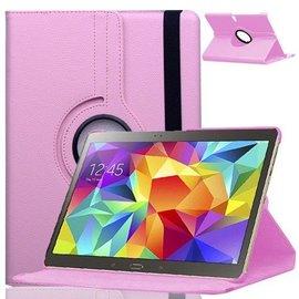 Merkloos Samsung Galaxy Tab S 10.5 inch T800 / T805 Tablet hoesje met 360° draaistand Case Cover kleur Licht Roze