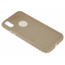 Merkloos Goud Glitter TPU Hoesje iPhone X / Xs