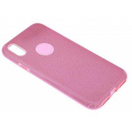 Merkloos Roze Glitter TPU Hoesje iPhone X / Xs