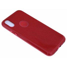 Merkloos Rood Glitter TPU Hoesje iPhone X / Xs