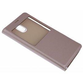 Merkloos Roze Goud Window vieuw Cover Kunst Leder Hoesje Samsung Galaxy J5 ( 2017 )
