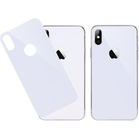 Merkloos Wit Tempered Glass Back Cover Screen Protector iPhone X / Xs