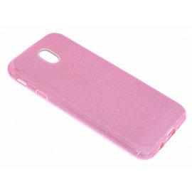 Merkloos Roze Glitter TPU Hoesje Samsung Galaxy J7 (2017)