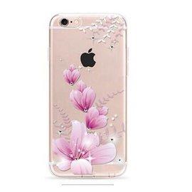 OU case OU Case 3D Roze Bloem Met Studs Soft TPU Hoesje iPhone 6 / 6S Plus