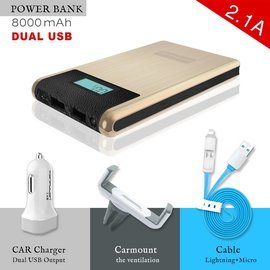 Konfulon Konfulon Goud Power Bank 2X USB  8000 mAh + Car Charger + Autohouder + Micro & Lighting Combi Kabel