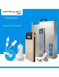 Konfulon Konfulon Zilver Power Bank 2X USB 8000 mAh + Car Charger + Autohouder + Micro & Lightning Combi Kabel
